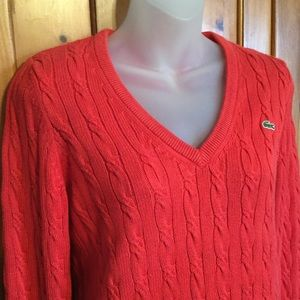 Lacoste V-neck cable knit sweater